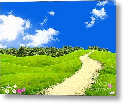 Green Field Metal Print by Boon Mee