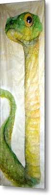 Green Snake Brings New Year Glow Metal Print