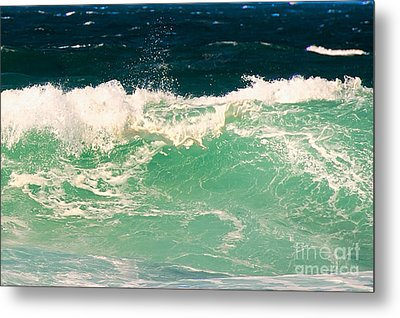 Green Wave Pacific Grove Ca  Metal Print by Artist and Photographer Laura Wrede