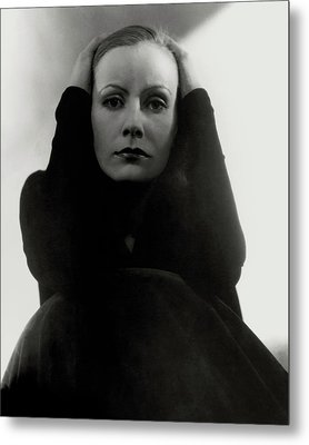 Greta Garbo Wearing A Black Dress Metal Print by Edward Steichen