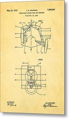 Grumman Retractable Landing Gear Patent Art 1932 Metal Print