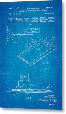 Gundlach Photocopier Patent Art 1957 Blueprint Metal Print by Ian Monk
