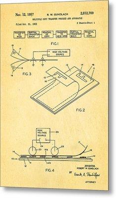 Gundlach Photocopier Patent Art 1957 Metal Print by Ian Monk