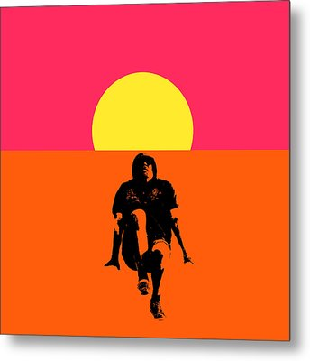 Guy Floating On Background Of Sunset Metal Print by Tommytechno Sweden