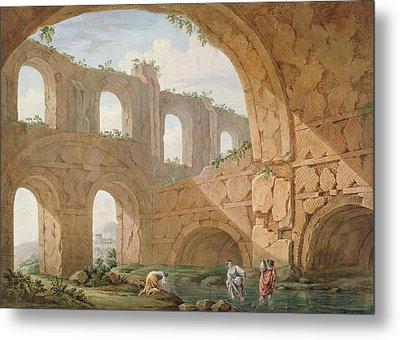 Hadrians Villa, Near Tivoli Metal Print by Charles Louis Clerisseau