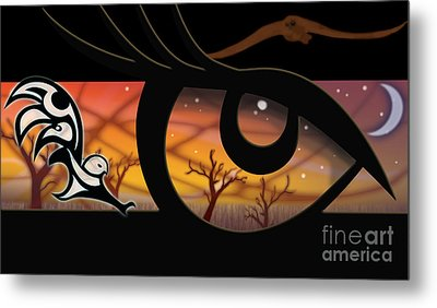 Haida Owl Raven Digital Illustration Owl Eyes Metal Print by Sassan Filsoof