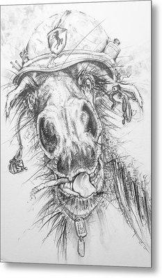 Hair-ied Horse Soilder Metal Print