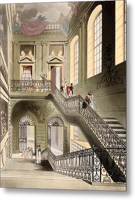 Hall And Staircase At The British Metal Print by T. & Pugin, A.C. Rowlandson