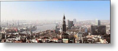 Hamburg Elbe Panorama Metal Print by Marc Huebner