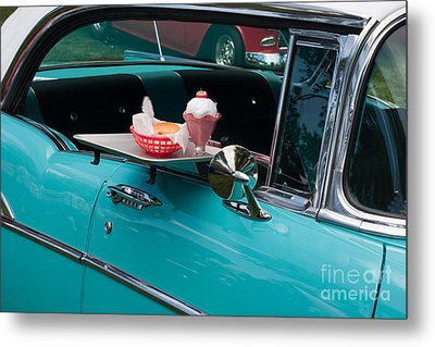 Metal Print featuring the photograph Hamburger Drive In Classic Car by Gunter Nezhoda