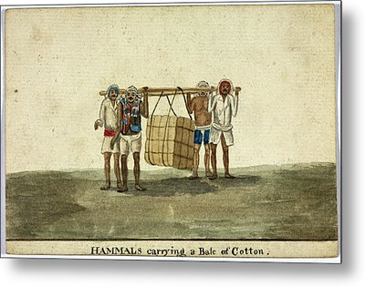 Hammals Carrying A Bale Of Cotton Metal Print