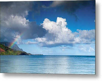 Hanalei Bay And Rainbow Metal Print by Roger Mullenhour