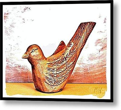 Hand Carved Wooden Bird Metal Print