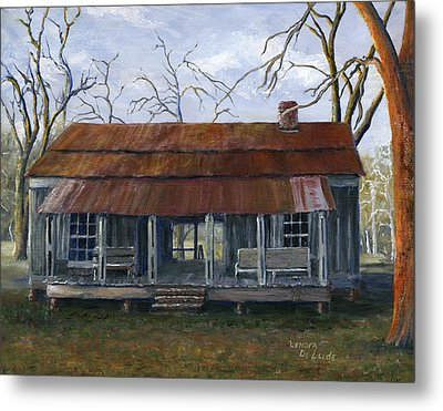 Hand Painted Art Dogtrot House In Pleasant Hill Louisiana Metal Print by Lenora  De Lude