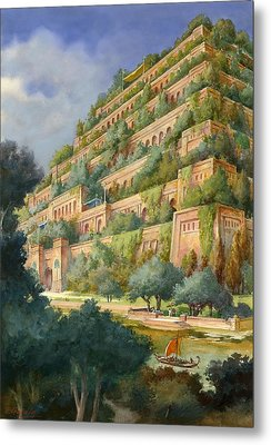 Hanging Gardens Of Babylon Metal Print by English School