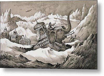 Hannibal And His War Elephants Crossing Metal Print