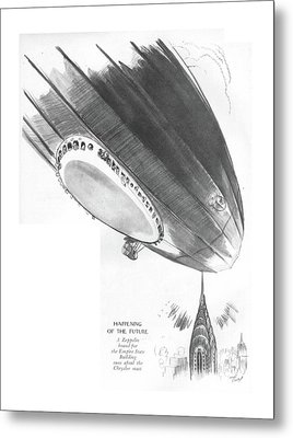 Happening Of The Future A Zeppelin Bound Metal Print by Garrett Price