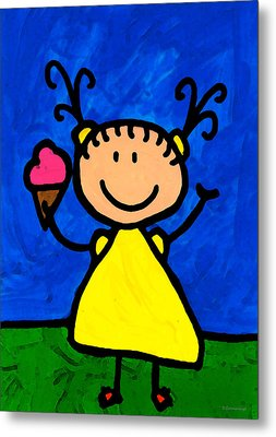 Happi Arte 3 - Little Girl Ice Cream Cone Art Metal Print by Sharon Cummings