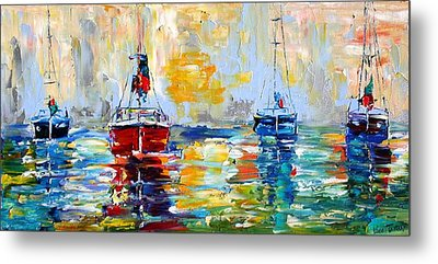 Harbor Boats At Sunrise Metal Print by Karen Tarlton