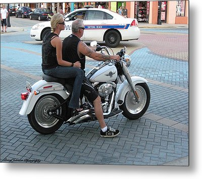 Harley On Main Street Metal Print by Brian Johnson