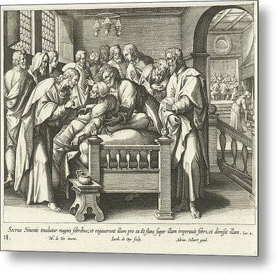 Healing The Mother Of Peter, Jacques De Bie Metal Print