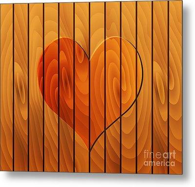 Heart On Wooden Texture Metal Print by Michal Boubin