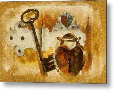 Heart Shaped Lock With Key Metal Print by Tracey Harrington-Simpson