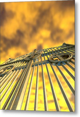 Heavens Golden Gates And Yellow Sky Metal Print by Allan Swart