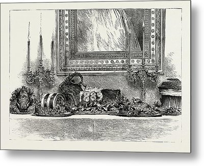 Her Majestys The Queens Sideboard At Christmas 1889 Metal Print by Litz Collection