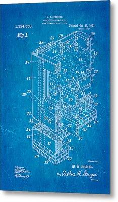 Herbrick Concrete Building Slab Patent Art 1921 Blueprint Metal Print by Ian Monk