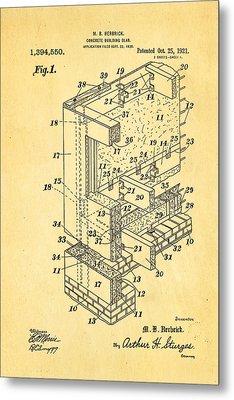 Herbrick Concrete Building Slab Patent Art 1921 Metal Print by Ian Monk