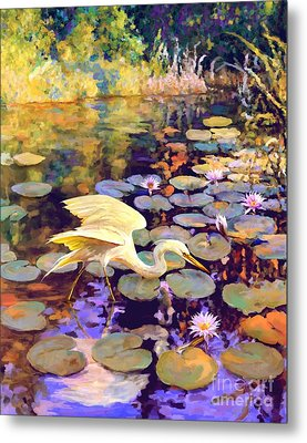 Heron In Lily Pond Metal Print by David  Van Hulst