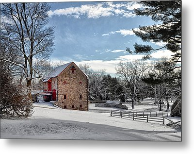 Highland Farms In The Snow Metal Print by Bill Cannon