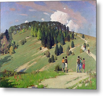 Hikers At Goodwood Downs Metal Print by George F. Henry