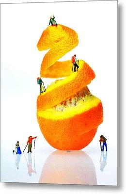 Hikers Climbing Orange Mountain Metal Print by Paul Ge