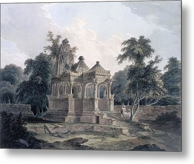 Hindu Temple In The Fort Of The Rohtas Metal Print by Thomas & William Daniell