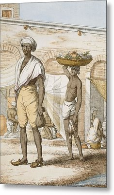 Hindu Valet Or Buyer Of Food, From The Metal Print by Franz Balthazar Solvyns