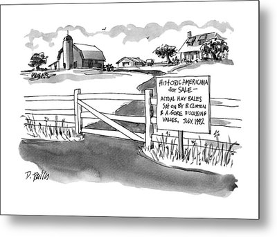 Historic Americana For Sale - Actual Hay Bales Metal Print