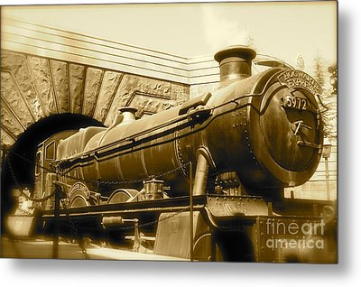 Hogwarts Express Sepia 1 Metal Print by Shelley Overton