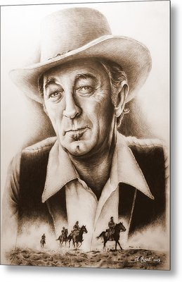 Hollywood Greats Mitchum Metal Print by Andrew Read