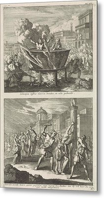 Holy Eulampia And Her Brother Are Boiled Alive In Oil Metal Print by Jan Luyken And Barent Visscher And Jacobus Van Hardenberg