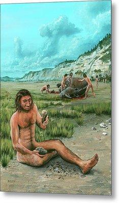 Homo Heidelbergensis Creating A Flint Axe Metal Print by Richard Bizley