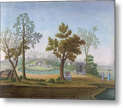 Honam Temple- Garden And Fields Metal Print by British Library