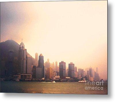 Hong Kong Harbour Sunset Metal Print by Pixel  Chimp