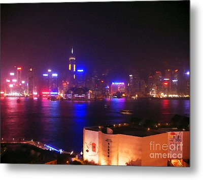 Hong Kong Skyline Metal Print by Pixel  Chimp