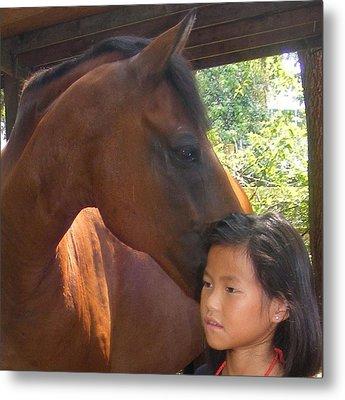 Horses And Children Metal Print by Rene Trebing
