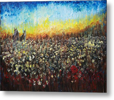 Horses And Dandelions Metal Print by Nik Helbig