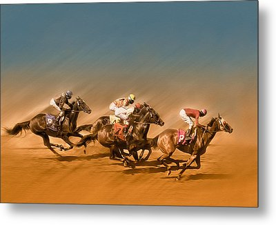 Horses Racing To The Finish Line Metal Print