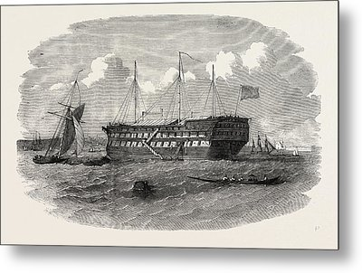 Hospital Ship Near The Seraglio At Constantinople Istanbul Metal Print by English School