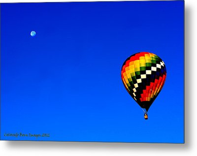 Hot Air Ballon To The Moon Metal Print by Rebecca Adams